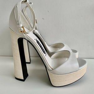 Tom Ford White Platform Sandals Heels 39.5 NEW